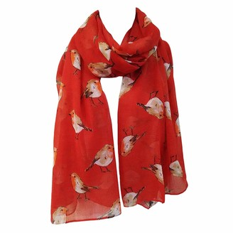 "London scarfs Women""s fashion Butterfly Print Long Scarves floral Neck Scarf Shawl (Red)"