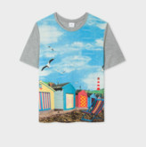 Paul Smith Beach Hut Photo Print Modal T Shirt - XS .