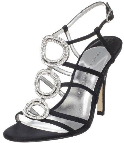 Ivanka Trump Women's Asteria Black Satin Ornamented T Strap Sandal