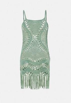 Missguided Green Crochet Fringed Mini Dress