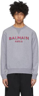 Balmain Grey 3D Logo Sweatshirt