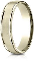 Ice 14K Gold 5mm Comfort-Fit Polished and Satin Carved Design Wedding Band