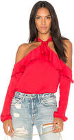 Saylor West Cold Shoulder Blouse in Red. - size L (also in M,S,XS)