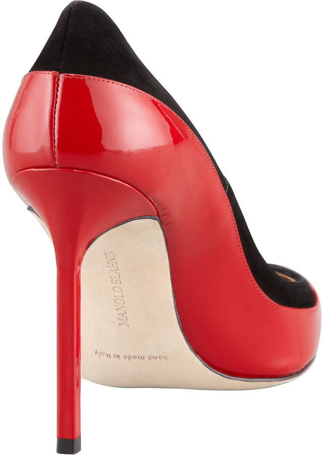 Manolo Blahnik Pretati Patent & Suede Pump, Red/Black