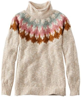 L.L. Bean Women's Cotton Ragg Sweater, Funnelneck Pullover Fair Isle