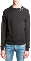 Saint Laurent Sweatshirt w/ Neckline Embellishment, Black