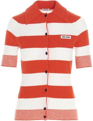 Miu Miu Logo Striped Short-Sleeved Cardigan