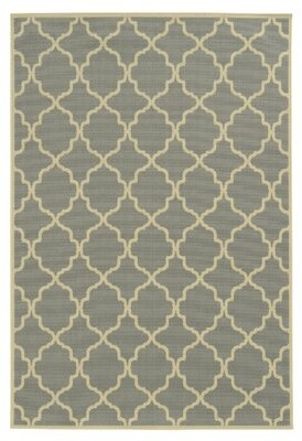 "Andover Mills Alford Geometric Gray/Ivory Indoor / Outdoor Area Rug Rug Size: Rectangle 3'7"" x 5'6"""