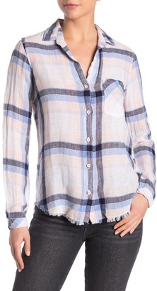 Cloth & Stone Fray Hem Plaid Button Down Linen Blend Shirt