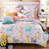 LELVA® LELVA Cartoon Princess in Bed with a Cotton Jacket, Kids Bedding Girls, Children's Duvet Cover Set, Bedding for Girls, Twin Size 4pcs