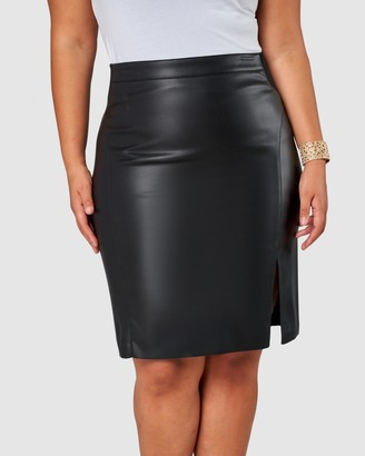 Pink Dusk - Women's Black Leather skirts - Stinger PU Skirt - Size One Size, 12 at The Iconic