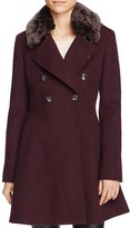 Via Spiga Double-Breasted Faux Fur-Trim Wool Blend Coat