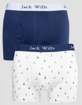 Jack Wills Chetwood 2 Pack Trunks Print Blue