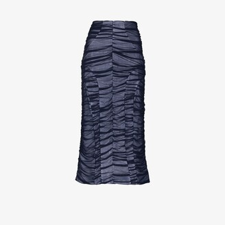 Richard Malone Recycled Mesh Ruched Midi Skirt