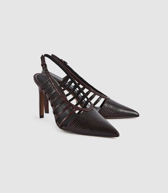 Reiss Daphne - Leather Slingback Heels in Pomegranate