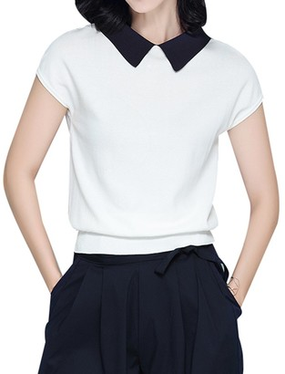 Yasong Women Short Sleeve Reversible Peter Pan Collar/Boat Neck Stretchy Knit Pullover Stitch Jumper Sweater Black 12