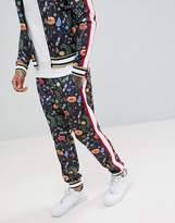 Jaded London Printed Floral Skinny Joggers With Side Stripes