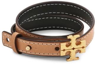 Tory Burch Logo Double-Wrap Leather Bracelet
