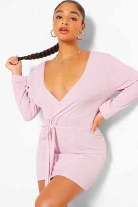 boohoo Plus Rib Wrap Self Belted Bodycon Dress