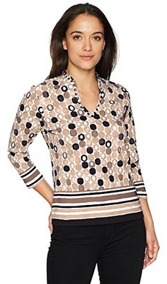 Ruby Rd. Women's Petite Size 3/4 Sleeve Keyhole-Neck Printed Cotton Knit Top