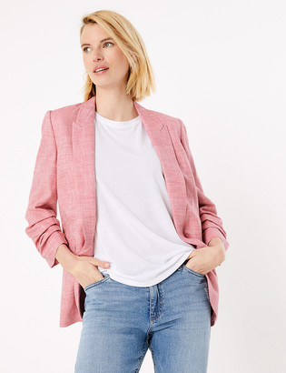 Marks and Spencer Linen Ruched Sleeve Blazer