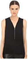 The Kooples Tank Top in Silk and Jersey with a Zip Neckline Women's Sleeveless