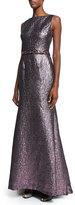 Monique Lhuillier Sleeveless Metallic Beaded-Waist Mermaid Gown