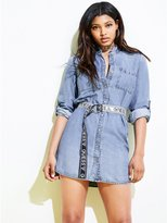 GUESS Women's Aubrey Denim Belted Shirtdress