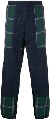 Gr Uniforma Checked Panelled Tapered-Leg Trousers