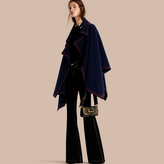 Burberry Wool Cashmere Blend Poncho with Contrast Detail