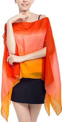 JINWEI Women's Kimono Cardigans orange - Orange Ombre Kimono-Sleeve Boatneck Top