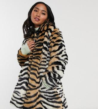 Asos DESIGN Petite tiger faux fur button through coat