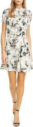 Diane von Furstenberg Trinity Floral Print Silk Shirtdress