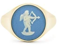 Wedgwood Ferian Ceramic Cupid & Gold Signet Ring - Womens - Blue