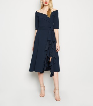 New Look Missfiga Ruffle Wrap Bardot Dress