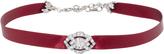 Ben-Amun Ben Amun Burgundy Satin Choker with Silver Crystal Deco Pendant