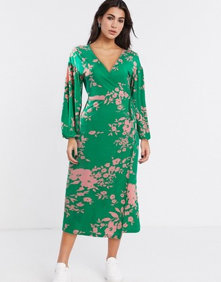 ASOS DESIGN wrap midi tea dress with bright floral