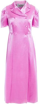 Valentino Double-breasted Gathered Satin-crepe Midi Dress