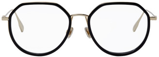 Christian Dior Gold and Black Stellaire09 Round Glasses