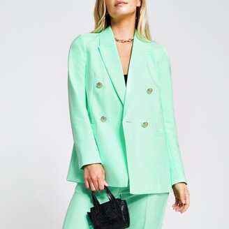 River Island Womens Petite Green double breasted blazer