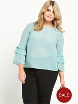 Alice & You Frill Sleeve Sheer Blouse - Blue