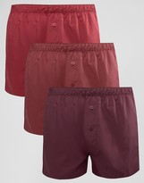 Asos Woven Boxers In Burgundy 3 Pack