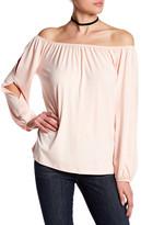 Pleione Knit Off-the-Shoulder Split Sleeve Shirt