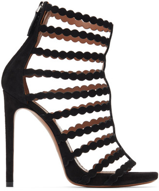 Alaia Black Suede Cage Heeled Sandals