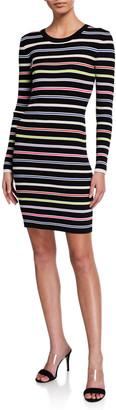 Milly Multicolor Stripe Long-Sleeve Dress