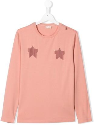Elisabetta Franchi La Mia Bambina TEEN fringed stars T-shirt