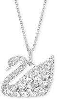 Swarovski Silver-Tone Multi-Crystal Swan Pendant Necklace