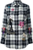 Dolce & Gabbana embellished patch checked shirt - women - Silk/Cotton/Polyester/glass - 40