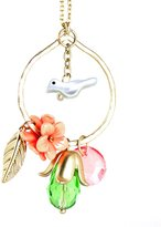 Beautiful Silver Jewelry Darling Pink, Green, Peach Flower Goldtone Circle Bird Pendant Necklace in Gift Box