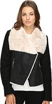 Betsey Johnson Women's Faux Shearling/Boiled Wool Combo with Corset Back